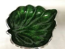Green Enamel & Silver Metal Bowl Leaf Shape Made in India Excellent