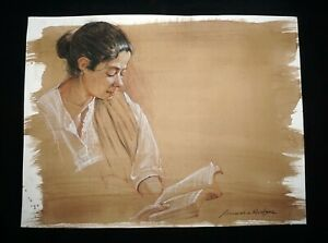 Hawaii Mixed Media Wash Painting Female Figure Reading Snowden Hodges (Sho)#114