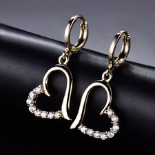 HUCHE Retro Yellow Gold Filled Heart Diamond Crystal Dangle Lady Party Earrings