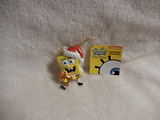 CHRISTMAS SPONGEBOB IN SANTA HAT HOLDING SMALL GINGERBREAD MAN BLOWMOLD ORN -NEW