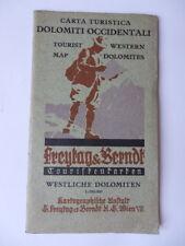 DOLOMITI OCCIDENTALI Carta turistica vecchia cartina alpi alpinismo montagna