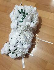 Artificial White Rose With Diamonds Bride Wedding Trailing Teardrop Bouquet