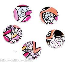 mercerie LOT de 5 BOUTONS BOIS peint et motif psychédélique coloré Ø 18mm button
