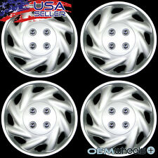 "4 NEW OEM SILVER 14"" HUB CAPS FITS 1991-CURRENT SATURN S SERIES WHEEL COVERS SET"