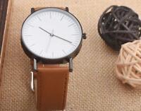 Men Watches Business Retro Design Leather Band Analog Alloy Quartz Wrist Watch