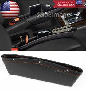 PVC Black Car Seat Catch Gap Filler Pocket Storage Organizer Box For Honda Acura