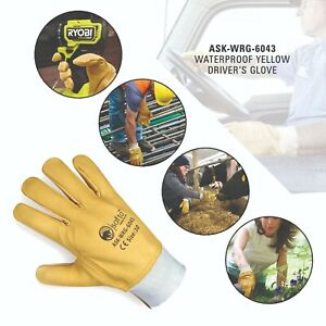 DRIVER GLOVES COW GRAIN LEATHER LORRY DRIVERS WORK GLOVES SAFETY DIY QUALITY
