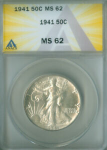 1941 WALKING LIBERTY HALF DOLLAR ANACS MS-62 FREE S/H (2126736)
