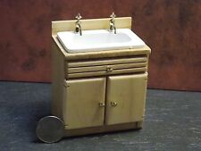 Dollhouse Miniature Oak Kitchen Sink Cabinets 1:12 inch scale G94 Dollys Gallery