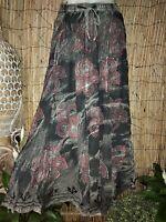 Grey Tie Dye Gypsy Bohemian Maxi Skirt & Elastic Waist One Size 10-12-14