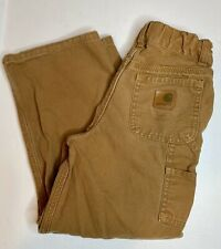 Carhartt Dungaree Boys Pants Duck Brown Boys Size 6 Adjustable Waist