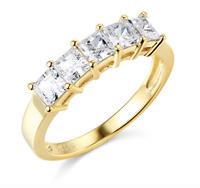 2.50 Ct Princess Cut Real 14k Yellow Gold 5-Stone Wedding Anniversary Band Ring