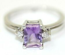 14K WHITE GOLD, AMETHYST, CZ Womens Ring: Size 8, 4 Grams