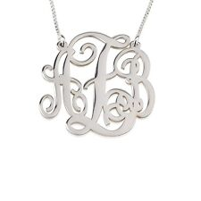 """Small Size Monogram Necklace Silver 1"""" Split Initial Name Pendant - oNecklace ®"""