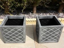 SET OF 2 Leaded Antique Grey Square Resin Garden Planter Pot Indoor Outdoor Use