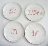 """RAE DUNN Magenta PARTY TIME DINNER Plates Melamine 10"""" RED SET of 4 NEW"""
