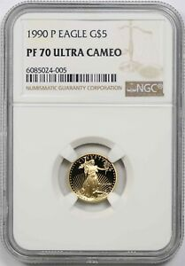 1990-P Eagle $5 NGC PF 70 Ultra Cameo Tenth-Ounce 1/10 oz of Fine Gold