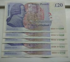 More details for uncirculated consecutive run of £20 notes x 5. hd prefix.