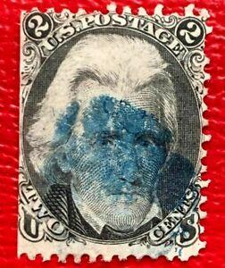 1863 US Stamp SC #73 2c Black Andrew Jackson Blue Canceled CV:$70