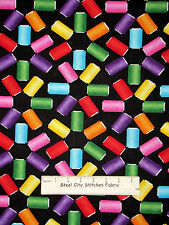 Sewing Theme Spools Thread Toss Cotton Fabric Benertex Needles Pins #05791 YARD