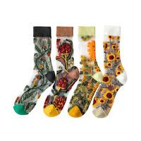 Crystal Silk Socks Funny Sunflowers Creepers Flowers Joyful Socks For Women Warm
