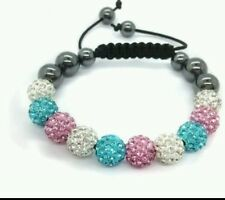 CRYSTAL BRACELET SHAMBALLA BLUE pink AND WHITE WEDDING PROM BIRTHDAY mum bridel