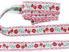 Floral Embroidered Pattern Cotton Ribbons Tape Lace Trim 16mm Wide M2747/15