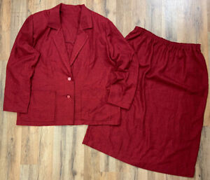 Vintage Handmade Red Skirt Suit Womens Size 2x Elastic Waist Skirt Blazer Jacket
