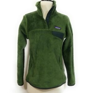 PATAGONIA Womens Olive Green Re-tool Snap T Pullover Fleece Jacket Size S Small
