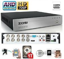 Zosi 8Ch 720P AHD DVR 1080P HDMI Network P2P Mobile App Security System+1TB HDD