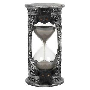 GOTHIC BLACK CAT HOURGLASS TIMER RESIN ORNAMENT PENTAGRAM SCROLL KNOT SAND CLOCK
