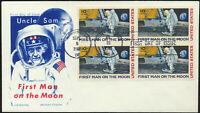C76 Moon Landing Cachet 1969 Dual Cancel UA FDC with BLOCKof4 Chickering Jackson