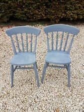 PAIR OF HEAVY SOLID BEECH DINING CHAIRS IN PAVILION GRAY FARROW AND BALL