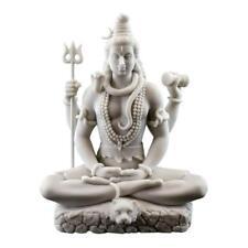"LORD SHIVA STATUE 8"" Hindu Indian God White Marble Finish Resin Seated Figure"