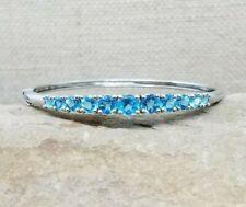 Chuck Clemency NYCII Platinum Sterling Silver Swiss Blue Topaz Bangle Bracelet