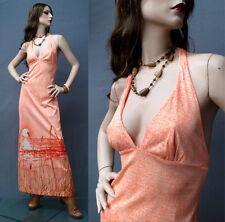 RARE Vintage 70s Hippie Boho Dress Orange Surf Sunset Halter Deep V Maxi L/XL