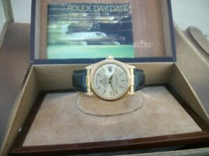 Vintage Rolex Day-Date (President) Men's Black Alligator Leather Strap - 1807