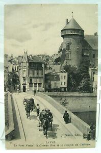 CPA - Laval - Le Pont-Vieux, la Grande-Rue et le Donjon du Château - TTBE