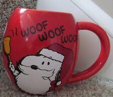 Snoopy Christmas Peanuts Coffee Mug Ceramic Cup Red Charlie Brown New HO WOOF