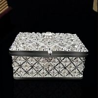 US Square Shaped Silver Plated Crystal Trinket Jewellery Box With Floral Design