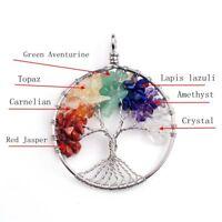 Tree of Life Pendant Necklace Spiritual Chakra Healing Stone Rainbow Crystal Gem