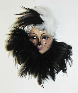 NEW IN BOX-Unique Creations Small Black Kitty Cat Lady Face Mask Wall Hanging
