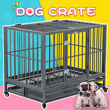 "36"" Large Heavy Duty Metal Dog Crate Pet Kennel Cage Playpen with Tray & Wheels"