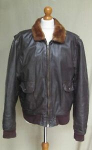 Vintage 70s Brown Leather Fur Collar Bomber Flight Jacket Coat size XL