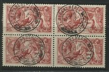 GB KGV 1918 Bradbury 5/ SUPERB block of 4 struck by St. Albans CDS's