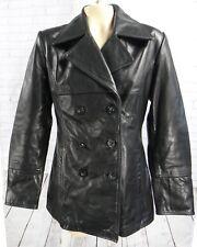 GUESS leather black women medium jacket pea coat matrix peacoat