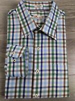 Peter Millar Men's Button Up Dress Shirt Blue Green White Check Size XL