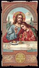 ECCE PANIS ANGELORUM latin = BREAD of ANGELS. Old gold Litho HOLY CARD die cut