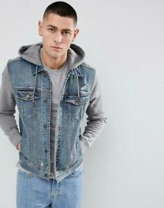 Hollister Hooded Denim Jacket With Grey Sweat Sleeves And Hood in Mid Wash BNWT