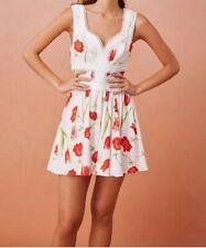 KEEPSAKE DESIRE MINI DRESS PORCELAIN POPPYsize 8 (s) White with poppy print